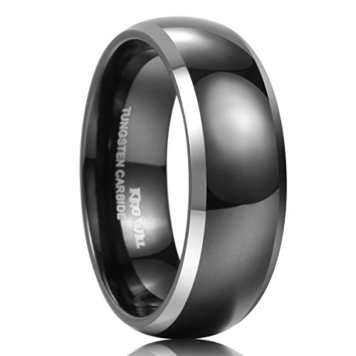 King Will 8mm Tungsten Ring Black Two Tone Domed High Polish Classic Wedding Engagement Band 10