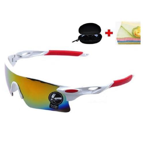 JapaNice スポーツ サングラス メガネ ケース + 眼鏡 拭き 3点セット メンズ レディース 兼用 レンズカラー ミラーレンズ SP-004MRH
