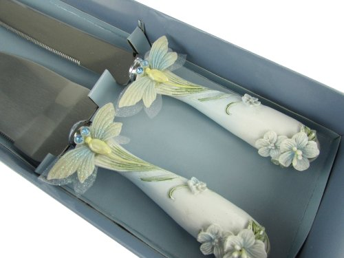 Cake Knife and Server Set - Butterfly, Princess, Heart, Flowers Design (Dragonfly - Blue)