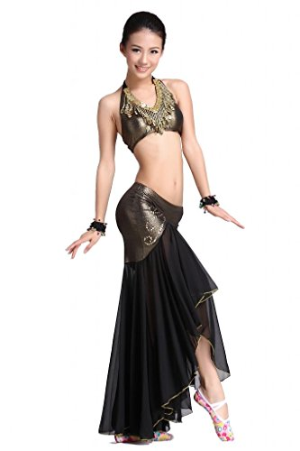 ZLTdream Women's Belly Dance Costume Bandage Peacock Bra Top, Fish tail skirt