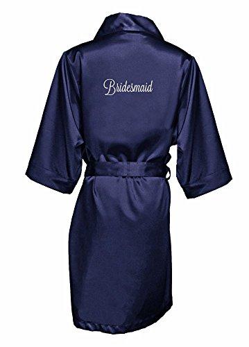 Embroidered Bridesmaid Satin Robe Style EMRB-BM, Navy, S / M