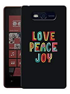 "Humor Gang Love Peace Joy Printed Designer Mobile Back Cover For ""Nokia Lumia 820"" (3D, Matte, Premium Quality Snap On Case)"
