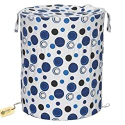 HOME CUBE Multipurpose Foldable & Collapsible Pop-Up Round Laundry Bag Basket with Zippered Lid and Carry Handle (Random Colors and Patterns)