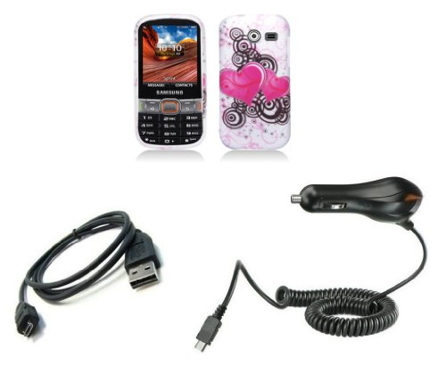 Samsung Array / Montage M390 Combo - Pink Symphony Hearts Design Shield Case + Atom Led Keychain Light + Micro Usb Cable + Car Charger