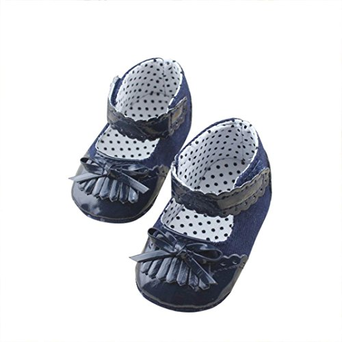 Voberry Baby Kid Girls Bowknot Mary Jane Flat Shoes Toddler Sandals Moccasins (0~6 Month, Navy) (Baby Girl Navy Blue Shoes compare prices)