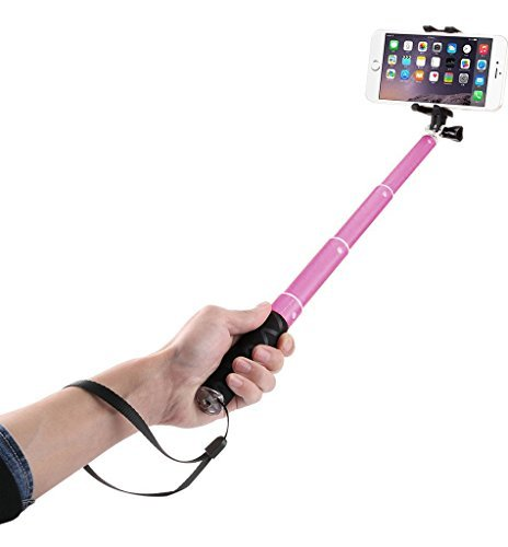 Voltaa Smile Selfy Stick Aluminium Bluetooth Selfie Kit for iPhone & Android with Carry Bag Pink