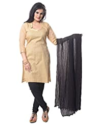 Utsav Fashion Women's Golden Chanderi Cotton Readymade Churidar Kameez-Medium
