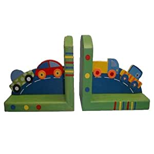 Colourful Wooden Car Bookends By AM Leg
