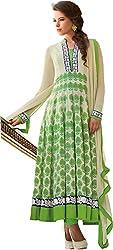 Jinaam Dress Women Cotton Dress Material (Jd-3020B _Cream & Green _2)