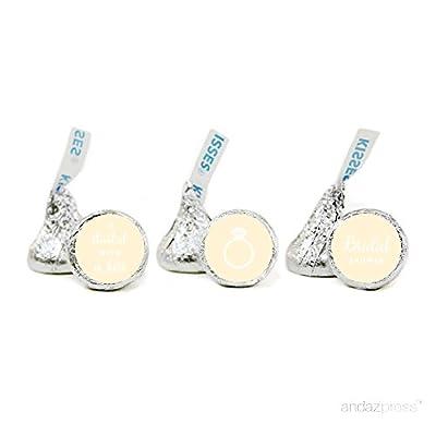 Andaz Press Chocolate Drop Labels Trio, Fits Hershey's Kisses, Wedding Bridal Shower
