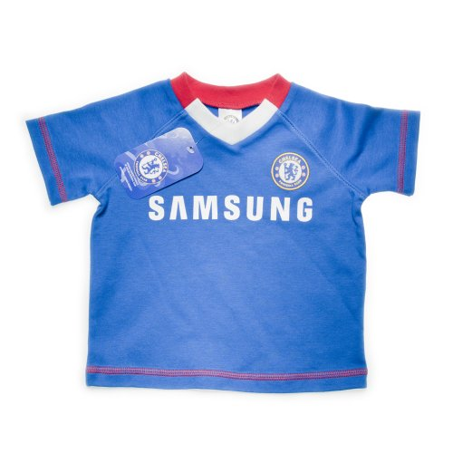 Chelsea Football Club Baby T-Shirt with Red and White V-Neck (Reflex Blue, 18 to 23 Months)