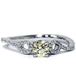 VS1 GIA Certified Fancy Yellow .51CT Diamond Modern Unique Engement Ring 18K White Gold Size 6.5 from Pompeii3 Inc.