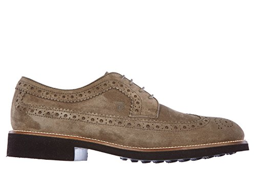 Tod's scarpe stringate classiche uomo in camoscio derby bucature fondo light beige EU 40.5 XXM0OX00C11RE0C407