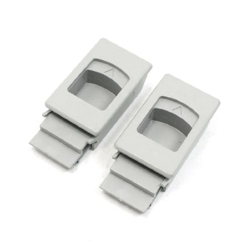2 Pcs Plastic Inside Pull Rectangular Latch Gray For Cabinet