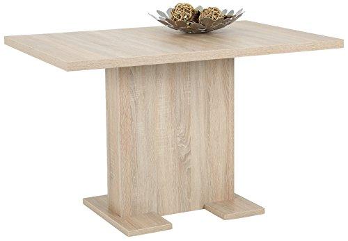 063595A2 Esstisch Dagmar, Säulengestell Holzwerkstoff Dokor Sonoma Eiche, Ausziehbar, 120-160x80-75cm