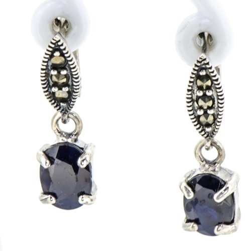 Natural-Rare-Blue-Sapphire-Vintage-Marcasite-Marquise-Earrings-Oxide-925-Silver
