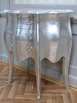 Antiguo cómoda, chapado en plata, con herrajes de latón