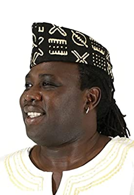 African Men's Mudcloth Dress Hat, Black Ivory, Made in Mali, Africa