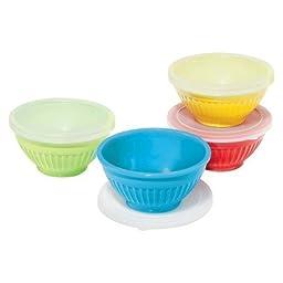 OGGI 4 Piece Ribbed Melamine Preparation Bowls with Lids