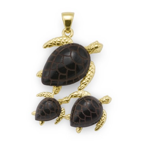 Turtle Pendant with Black Coral in 14K Yellow Gold