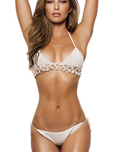 MingTai Uncinetto da Donna con Allacciatura Dietro al Collo con Dettagli Bikini Swimwear Beachwear Tagila unica Bianca