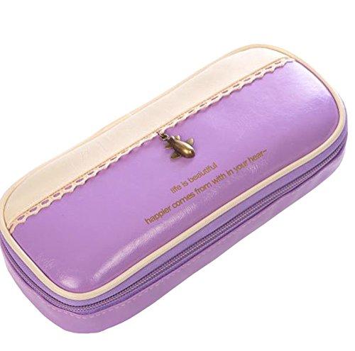 MAMiO おしゃれ で かわいい シンプル な ふで箱 パステルカラー キューティー ペンケース (パープル)