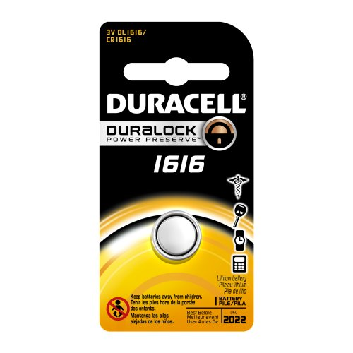 Duracell DL1616BPK Lithium Coin Battery, 1616 Size, 3V, 55 mAh Capacity (Case of 6)