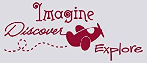 Wall Décor Plus More WDPM1455 Imagine Discover Explore Wall Vinyl Sticker Quote with Airplane Decal, 18 W  x  42.5 H, Red