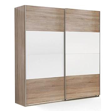 135cm Schwebeturenschrank Eiche - weiß Kleiderschrank Schrank Schlafzimmer