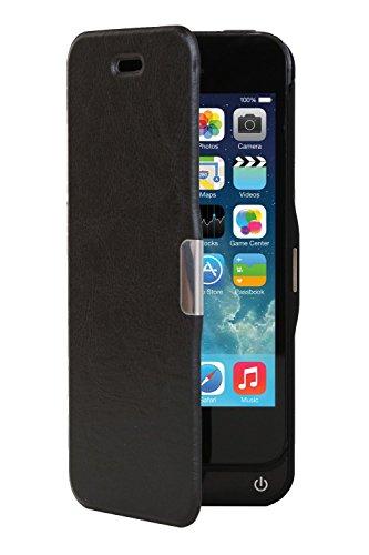 ハヤブサモバイル HB-IP5SFⅡ iPhone5/5S専用 レザーカバー付き 大容量 4000 mAh バッテリー内蔵ケース [黒 ブラック] USB出力ポート付 (イヤホン延長ケーブル / 日本語説明書付き)