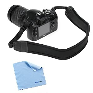 GTMax Black Anti-Slip DSLR Camera Neoprene Neck/Shoulder Strap for Canon, Nikon, Sony, Panasonic, FujiFilm, Olympus and more DSLR Camera with Cleaning Cloth