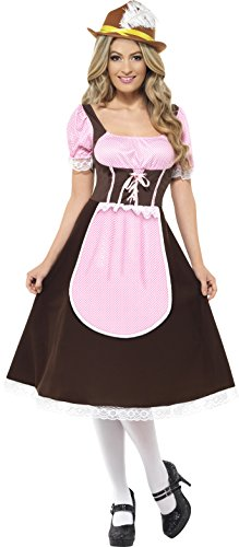 [Smiffy's Women's Tavern Girl Costume Long Dress with Attached Apron, Brown/Pink, Small] (Oktoberfest Costumes Australia)