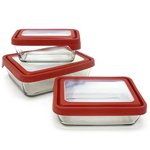 Anchor Hocking 6-Piece TrueSeal Food Storage Set with Red True Seal Airtight Lid, Set of 3 ...