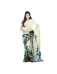 Admyrin Multi Colour Georgette Saree With Blue Blouse Piece - B00VQ6NITM