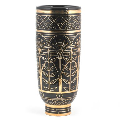 Black and Gold Frieze Slipware Vase (Limited Edition)||RF10F