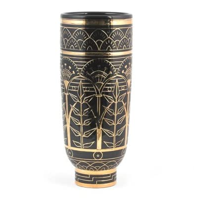 Black and Gold Frieze Slipware Vase (Limited Edition)   RF10F