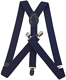 ORSKY Adjustable Braces for Mens with Strong Clips Y Shap Suspenders Navy