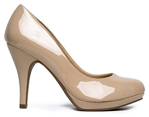 Marco Republic Rome Memory Foam Cushion Womens Low Platform Heels Comfort Pumps - (Dark Beige Patent) - 11