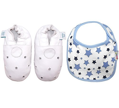 Dotty Fish Baby Boys' Soft Leather Shoe with Bib Gift Box