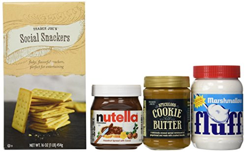 Create a Delicious S'mores Kit:includes-Trader Joe's Speculoos Cookie Butter-14.1oz.Trader Joe's Social Snackers-16oz.,Nutella Hazelnut Spread-13oz.Marshmallow Fluff-7.5oz.