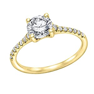 IGI Certified 14k yellow-gold Round Cut Diamond Engagement Ring (0.64 cttw, F Color, SI3 Clarity) - size 9