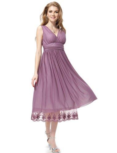 Ever Pretty Womens Empire Waist V Neck Tea Length Dress 12