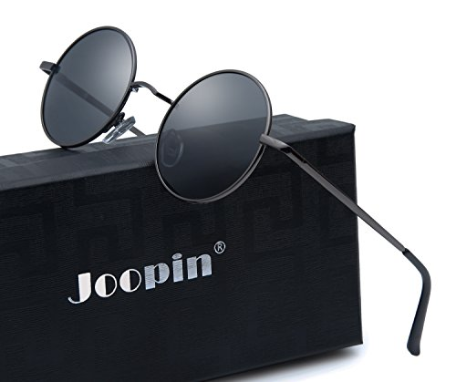 Joopin-Round Retro Polaroid Sunglasses Driving Polarized Sun Glasses Men Steampunk Vintage (Black Grey) (Round Vintage Glasses compare prices)