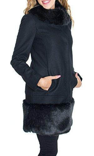 Trussardi Jeans - Cappotto Trussardi Jeans Donna con Pelliccia Col. Nero - 56S01A, Taglia - 44