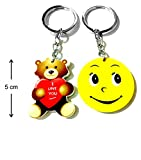 Keychain Big Smiley Yellow Teddy Bear Synthetic Board Metal Keyring-TF-246
