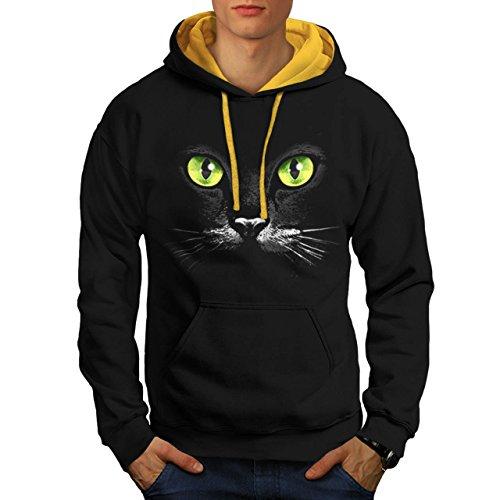 Gatto Gattino Carina Gattino Animale Animale domestico Uomo Nuovo Nero (Cappuccio Dorato) L Contrasto Felpa Con Cappuccio | Wellcoda