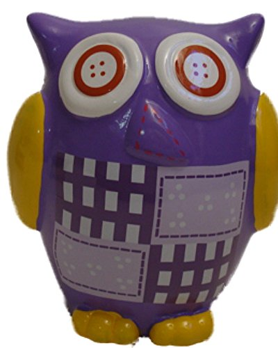 Purple and Yellow Resin Owl Kids Piggy Bank Hand Painted