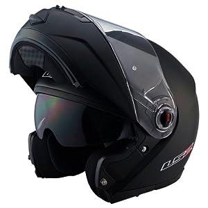 LS2 Helmets FF386 Modular Motorcycle Helmet (Solid Matte Black, X-Small)