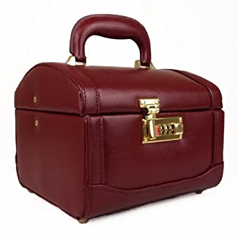 High Quality Hand Crafted Leather Vanity Make-Up jewellery Toiletries Box Case (Black/Burgundy) (Burgundy)
