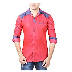 Aedi's Men Cotton Casual Shirts (SR62_Red_S)